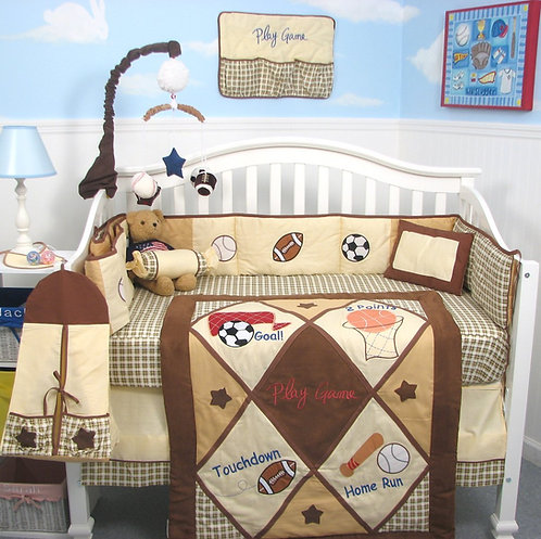 Crib Bedding Set, Game Day, Brown
