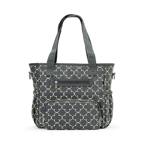 Grand Central Diaper Bag Tote, Charlotte Gray Quad