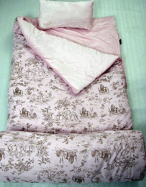 Sleeping Bag, French Toile, Pink & Brown