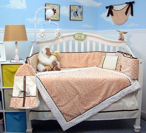 Crib Bedding Set, Peach Mini Roses, Minky Chenille