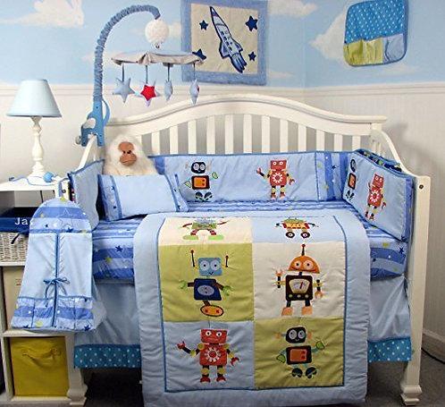 Crib Bedding Set, Mechanical Robot Heroes, Blue
