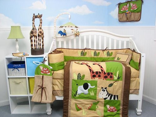 Crib Bedding Set, Safari Jungle Animals