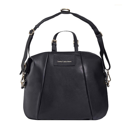 Olympia Vegan Leather Diaper Bag Tote, Black
