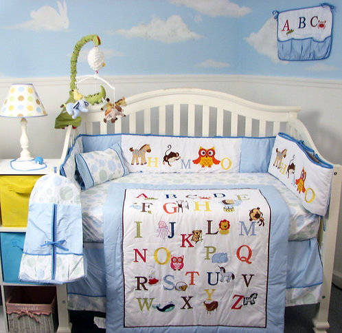 Crib Bedding Set, Alphabet Animals, Blue