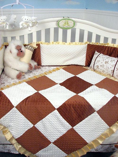 Crib Bedding Set, Minky Chenille, Brown