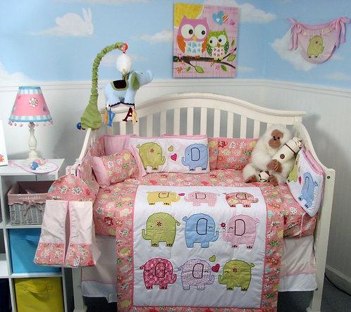 Crib Bedding Set, Elephant Flutter, Pink