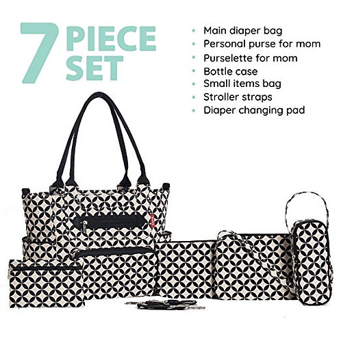 Grand Central Station Diaper Bag Tote, Black Stars