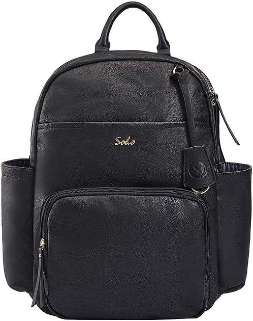 Jackson Vegan Leather Diaper Bag Backpack, Black