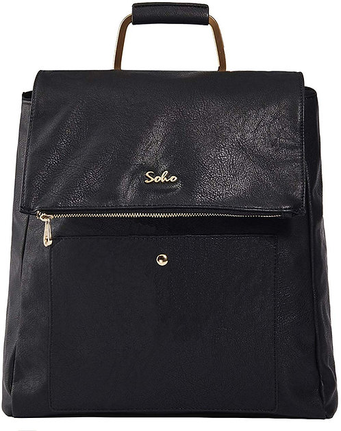 Carson Vegan Leather Diaper Bag Backpack, Black