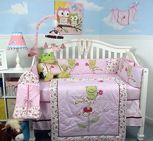Crib Bedding Set, Pink Dancing Frogs