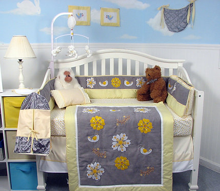 Crib Bedding Set, Daisy Autumn Contour, Gray Yellow