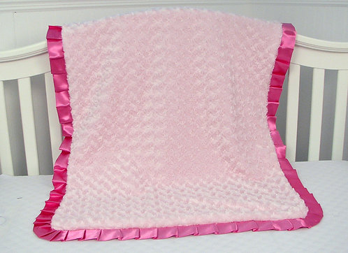 Baby Blanket, Pink Roses Minky Chenille