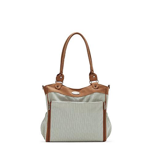Louvre Diaper Bag Tote, Brown Stripe