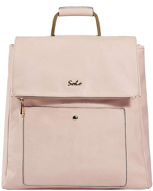 Carson Vegan Leather Diaper Bag Backpack, Pink