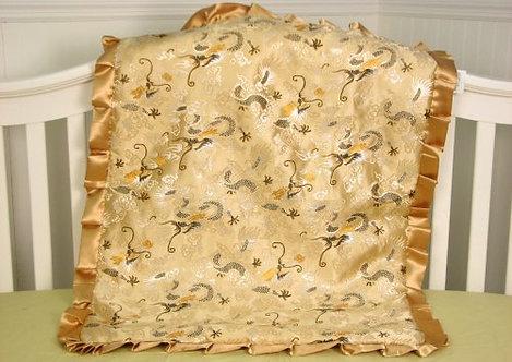 Baby Blanket, Golden Dragons, Silky