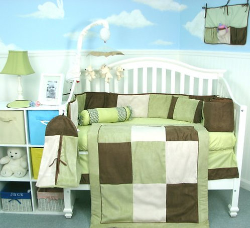 Crib Bedding Set, Checkered Suede, Green and Brown