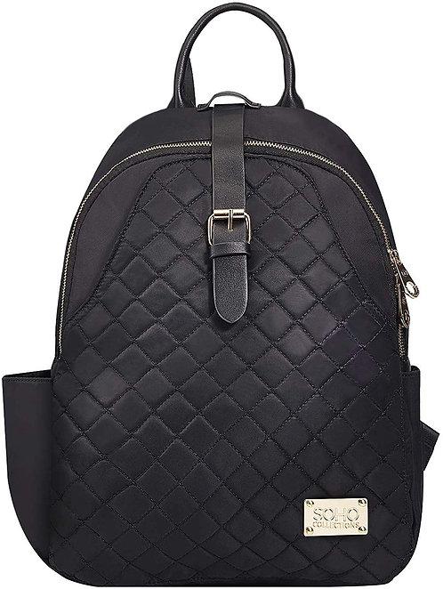 Helena Vegan Leather Diaper Bag Backpack, Black