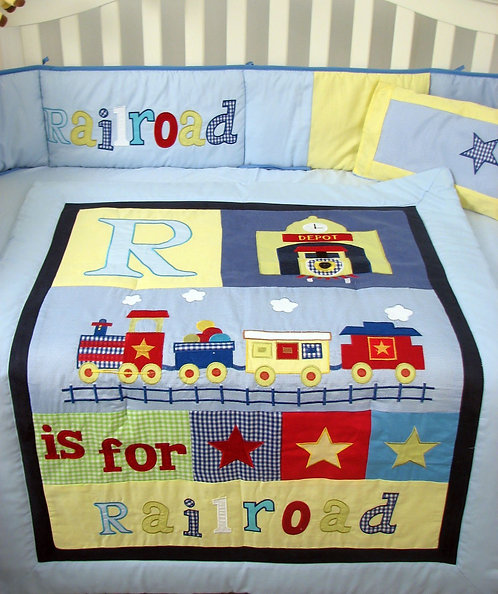 Crib Bedding Set, Railroad Train, Blue