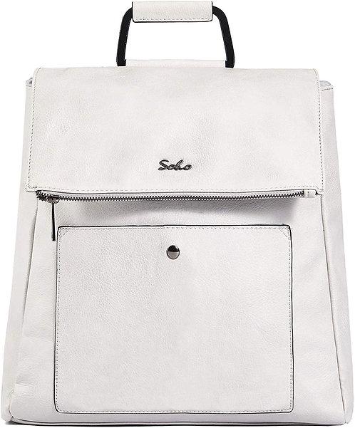 Carson Vegan Leather Diaper Bag Backpack, White