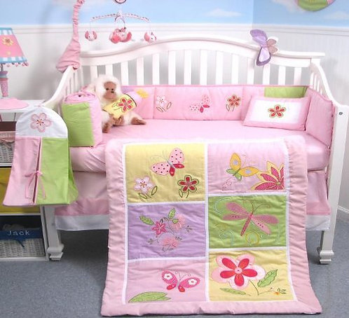 Crib Bedding Set, Butterfly Meadows, Pink