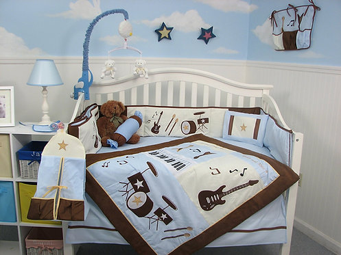 Crib Bedding Set, Rock Band, Blue and Brown