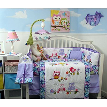 Crib Bedding Set, Lavender Owls Party