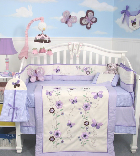 Crib Bedding Set, Lavender Flower Garden