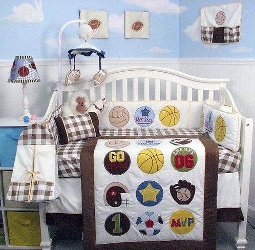 Crib Bedding Set, Super Sports Fan, Brown