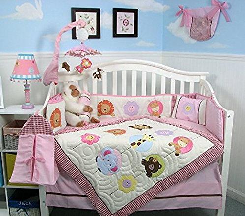 Crib Bedding Set, Zoo Animals, Pink