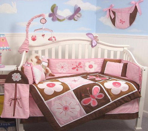 Crib Bedding Set, Floral Sweetie Garden, Pink
