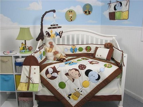 Crib Bedding Set, Forest Buddy, Brown