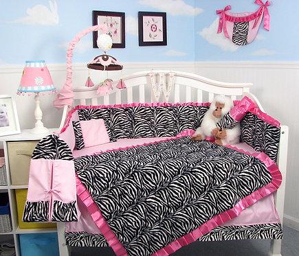 Crib Bedding Set, Zebra Chenille, Pink