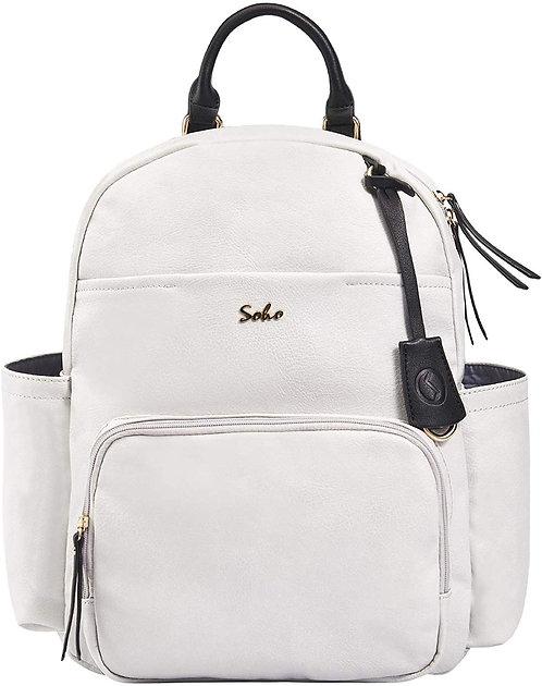 Jackson Vegan Leather Diaper Bag Backpack, White