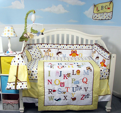 Crib Bedding Set, Alphabet Animals, Yellow
