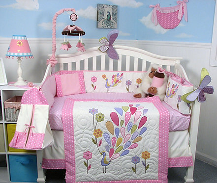 Crib Bedding Set, Gloria the Peacock, Pink