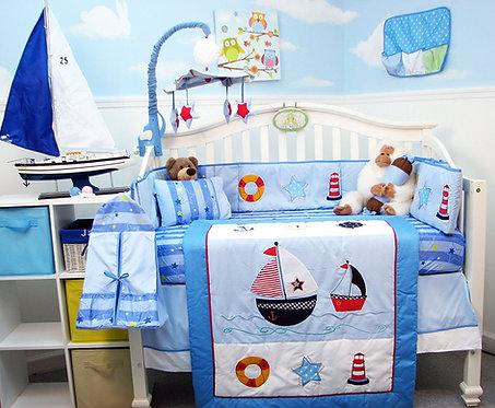 Crib Bedding Set, Sailboat, Blue