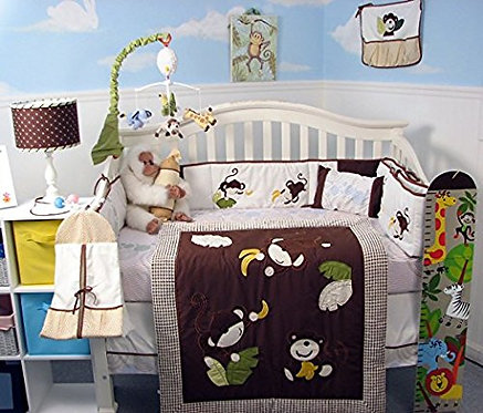 Crib Bedding Set, Monkey Business, Brown