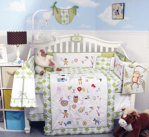 Crib Bedding Set, Alphabet Animals, Green