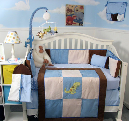 Crib Bedding Set, Dinosaur Fun, Blue Brown Suede