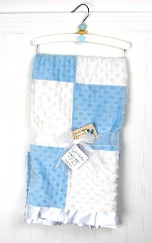 Baby Blanket, Minky Dot Chenille, Blue