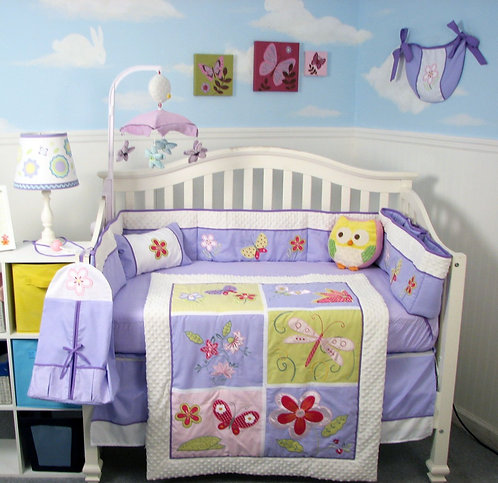 Crib Bedding Set, Butterfly Meadows, Lavender