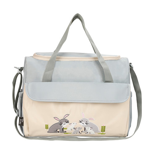 Animals Diaper Bag Tote, Gray Rabbits