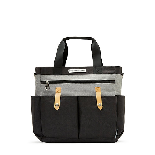 Saxham Diaper Bag Tote, Black Gray