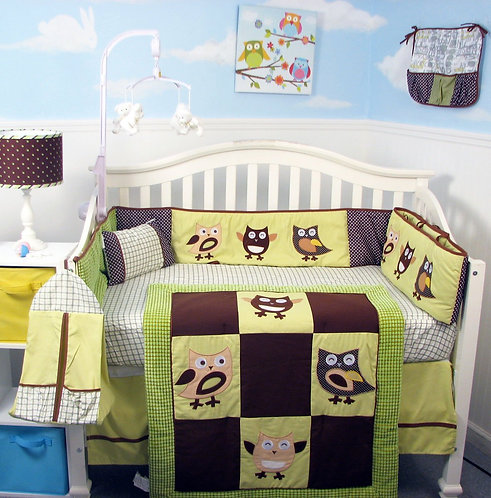 Crib Bedding Set, Happy Owls, Green Suede