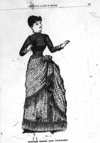 """""""Dinner dress for Newport [Rhode Island]"""". Upper skirt of china crape, bodice of bottle-green velvet, bordered with netted fringe and a skirt made from plaited satin francaise."""