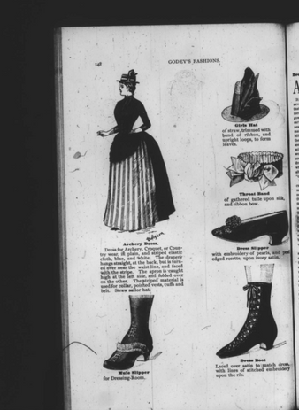 """""""Godey's Fashion"""": A dress made from striped elastic cloth, meant to be worn playing croquet or practicing archery. The dress is accompanied on the page by a spread of varying accessories. See individual descriptions."""