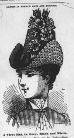 A Virot hat made from grey straw, steel and black beads, scarlet poppies and black striped ribbon. The hat was designed by French milliner, Madame Virot, who was active during the mid-1800s on Rue de la Paix in Paris.