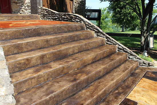 Decorative Stained Concrete Stairs