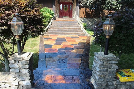 Concrete stone-like work on front walkway