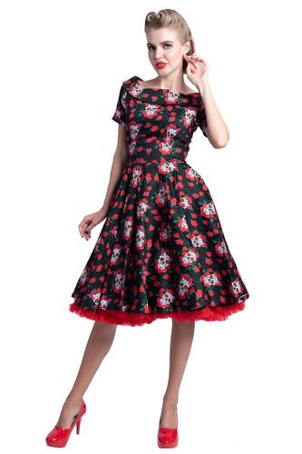8470248365054 D&D Darlene Swing Dress Skull and Roses